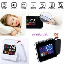 LED Alarm Clock Weather Display Humidity Thermometer Color Digital Projection