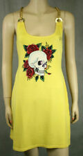 ED HARDY Skull Rose RHINESTONES Chain Dress Yellow SUN