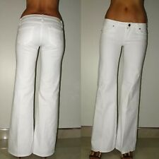 Paige Bundy Low Rise Wide Leg Flare White Mildly Distressed Jeans Petite 28 31