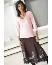 "LADIES BROWN LINEN & COTTON MIX FLOWER EMBROIDERED FULLY LINED SKIRT 29"" LONG"