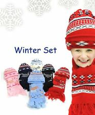 Kid's Knit GLOVE, HAT, SCARF SET in 6 Colors (WNTSET11)