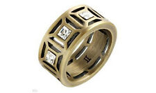 $119 DYRBERG/KERN Antique Finish Bronze Plated Ring with Swarovski Crystals. New