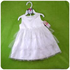 New/NWT~CARTERS~BABY GIRLS~WHITE SATIN+TULLE DRESS SET