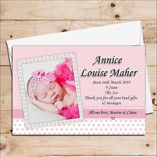 Personalised New Baby Girl Birth Announcements PHOTO Cards No15