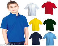 5 x Kids Polo T Shirts Pique Age 2 - 13 School 5 PACK