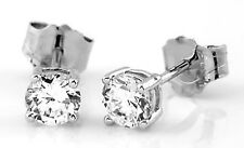 Silver CZ Cubic Zirconia Round Cut Solitaire Earrings