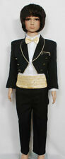 New Boys Black Tuxedo Dinner Jacket Suit Set 6-24 Month