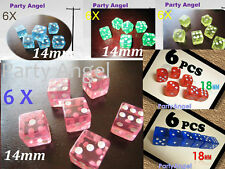6 pcs Party Supplies Dice Game parts acrylic craps casino toy gift 6 sided P016