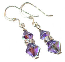TANZANITE PURPLE Crystal Earrings Sterling Silver Dangle Swarovski Elements