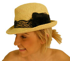 NEW Ladies Straw Trilby Hat with Lace detail and Bow