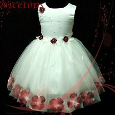 R476 Burdundy Red White Girl Christening Gown Flower Girls Dress Age 1,2,3,4,5,6