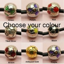 1 x Sports SOCCER BALL / FOOTBALL Bead CHARM fits European Bracelet or Necklace