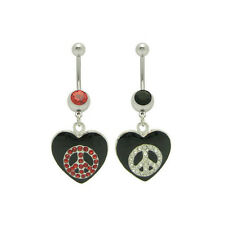 Dangle Heart Peace Sign Belly Ring with Cz Gems - 66650