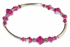 FUCHSIA PINK Crystal Bracelet Stretch Sterling Silver Swarovski Elements