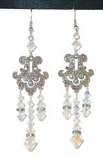 "CLEAR AB Crystal Earrings Very Long 3"" Chandelier Handcrafted Swarovski Elements"