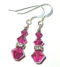 SWAROVSKI CRYSTAL ELEMENTS Sterling  Silver Dangle Earrings FUCHSIA PINK