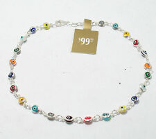 Multi Color Baby Evil Eye Ankle Bracelet Anklet Genuine Real 925 Sterling Silver