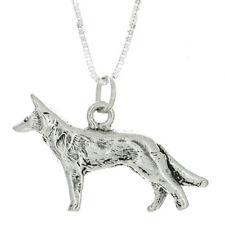 STERLING SILVER GERMAN SHEPHERD DOG CHARM WITH BOX CHAIN NECKLACE