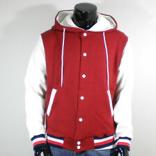 Men's New Varsity Hoodie Baseball Jacket (S,M,L,XL/Red&White/Quality Cotton)