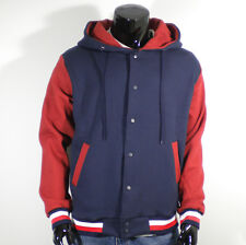 Men's New Varsity Hoodie Baseball Jacket (size-S,M,L,XL/Navy&Red/Quality Cotton)