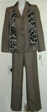 NWT Genuine SUIT STUDIO gray 2 pc pant suit set with matching scarf, size 4P, 6P