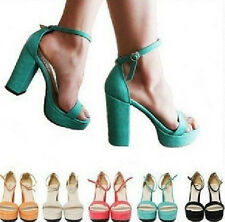 Candy Womens Thick Super High Heels Ankle Strap Band Platform Sandals Shoes 1jz