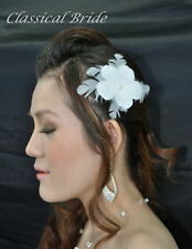 "#903 ""PLUMERIA"" FEATHER FASCINATOR Hair Clip In Ivory or White For Birdcage Veil"
