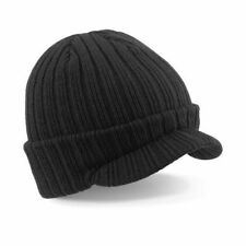 BEECHFIELD PEAKED BEANIE CAP BLACK / NAVY BLUE / OATMEAL RIBBED WOOLY WARM