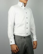 Mens New Slim Skinny Fit White High Collar Dress Shirt 03 Size US S-XXL