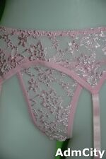 Admcity Lace Garterbelt with Matching Thong White Red Light Pink Black One Size