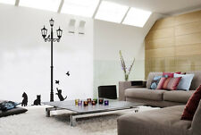 CATS AND LAMP PLAYING WITH BIRDS... ANIMALS  WALL STICKER ART DECALS