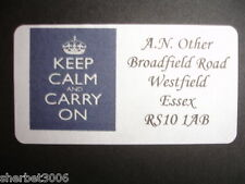 Personalised Keep Calm Carry On Various Address Medium Labels Stickers