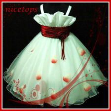 R818 AM NT US Reds Christmas Pageant Flower Girls Dress Age SZ 2-3-4-5-6-7-8-9Y