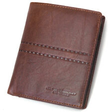 Vintage Retro Style Brown Leather Bifold Men's Wallet Zippered Pocket Purse