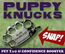 PUPPYKNUCKS pet name ID tag charm BRASS or CHROME knuckles Custom Engraved SALE