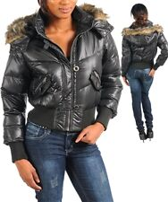 New Black Puffer Jacket W/Removable Fur Trim Hood~S/M/L~Fabulous~