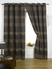 Ready Made Fully Lined Eyelet Curtains Chocolate (Mad)