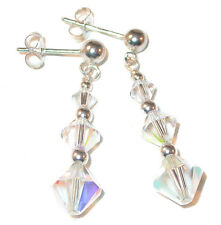 CLEAR AB Crystal Earrings Swarovski Elements Sterling Silver Pierced or Clip-on