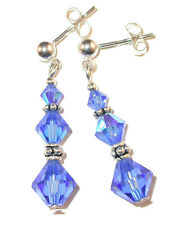 SAPPHIRE BLUE Crystal Earrings Dangle Bali Sterling Silver Swarovski Elements