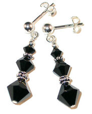 JET BLACK Crystal Earrlings Bali Sterling Silver Dangle Swarovski Elements