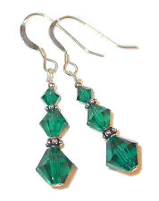 EMERALD GREEN Crystal Earrings Dangle Bali Sterling Silver Swarovski Elements