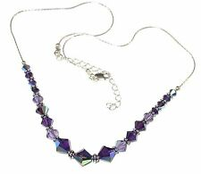 2-tone PURPLE Tanzanite Crystal Necklace Bali Sterling Silver Swarovski Elements