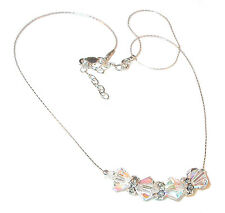8mm CLEAR AB Iridescent Crystal Necklace Sterling Silver Swarovski Elements