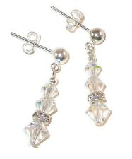 Petite SWAROVSKI Elements CRYSTAL EARRINGS Sterling Silver Dainty CLEAR AB