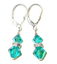 BLUE ZIRCON TEAL Crystal Earrings Dangle Sterling Silver Swarovski Elements