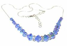 SWAROVSKI Elements SAPPHIRE BLUE CRYSTAL NECKLACE Sterling Silver