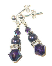 Deep Velvet PURPLE Purple Crystal Pearl Earrings Sterling Swarovski Elements