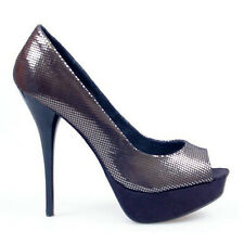 DESIGNER BLACK SHIMMERY PEEP TOE PLATFORM HIGH HEELS CORPORATE DRESS SHOES