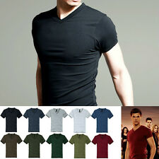 Mens T-Shirts Basic Tee Cotton & Lycra Well Stretch V neck Slim Fitted 8 Colors