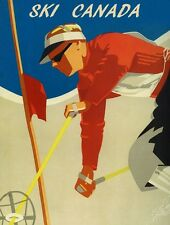 Ski Race CANADA Mountains Winter Sport Vacation Vintage Poster Repro FREE S/H